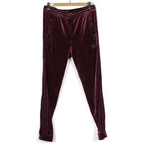 Adidas Med Velour Trackpants Sweatpants Burgundy